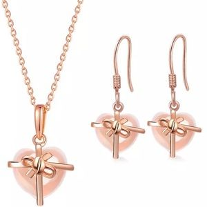 Jewelry - Natural Rose Quartz Sterling Silver Set
